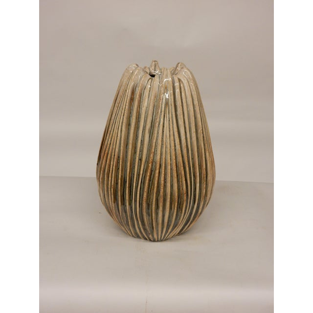 Contemporary Contemporary Italian Ridged Ceramic Vase For Sale - Image 3 of 4