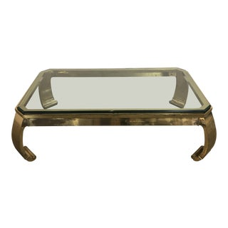 Asian Style Mastercraft Brass and Glass Coffee Table For Sale