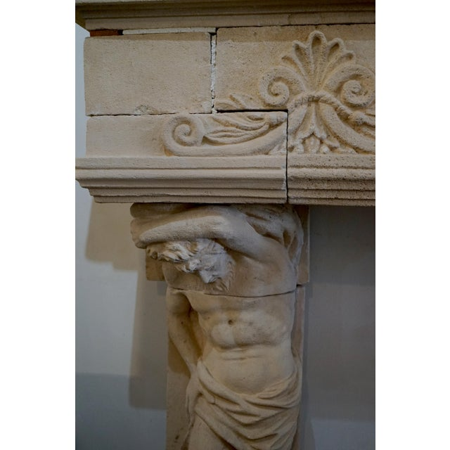 French Limestone Mantel Atlas Atlantes For Sale - Image 4 of 6