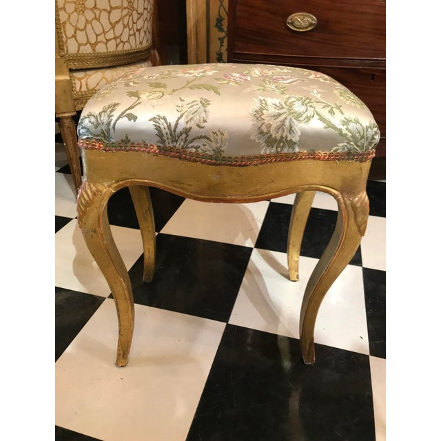 19th C. Vintage Gilt Wood Stool For Sale - Image 6 of 6