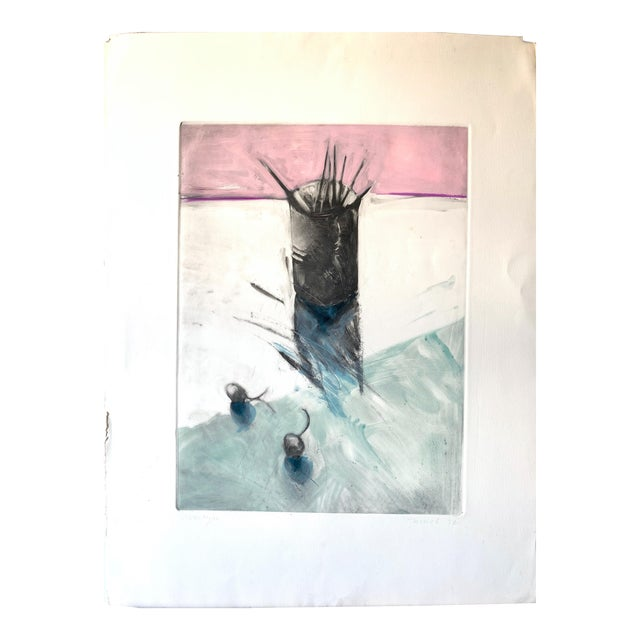 """1982 Monotype """"Cup of Brushes"""" Bay Area Female Artist For Sale"""
