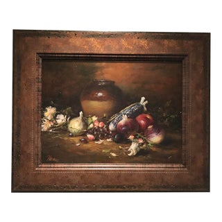 Original Oil Painting With Fruit and Wine Jug For Sale