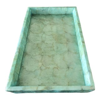 Pigeon & Poodle Andria Aqua Hammered Shell Medium Tray For Sale