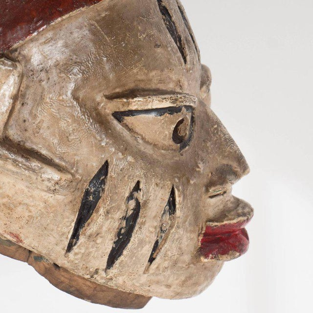 Painted Head Crest Mask on Mount, Probably Yoruba, Nigeria, 20th Century For Sale - Image 9 of 10