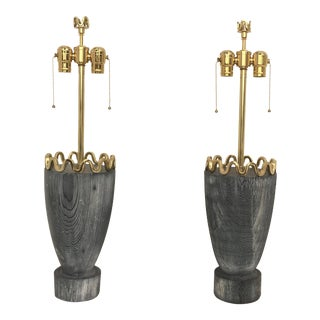 James Mont Cerused Redwood and Brass Lamps - a Pair For Sale
