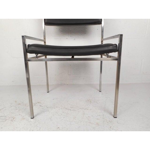 Mid-Century Modern Chrome & Vinyl Dining Chairs - Set of 4 For Sale - Image 9 of 10
