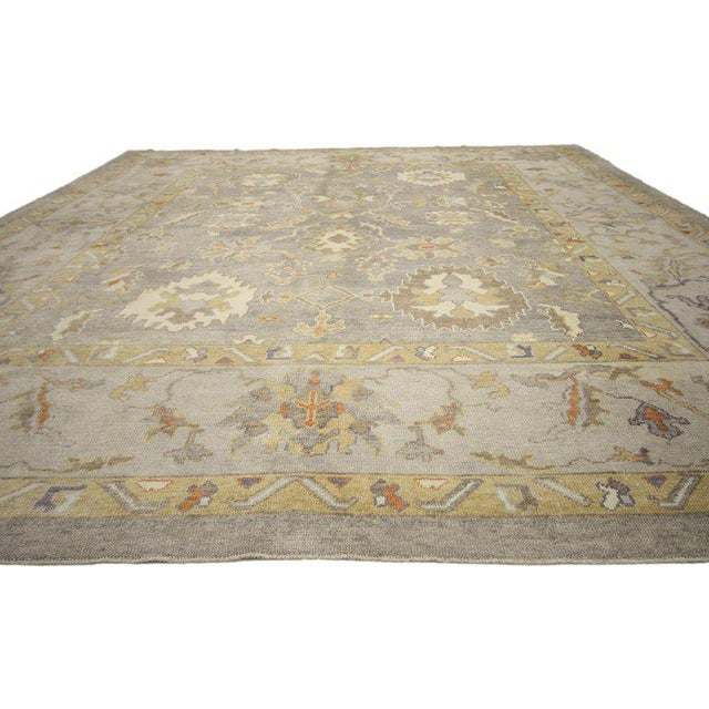 Contemporary Turkish Oushak Area Rug - 11′4″ × 13′10″ For Sale - Image 4 of 8