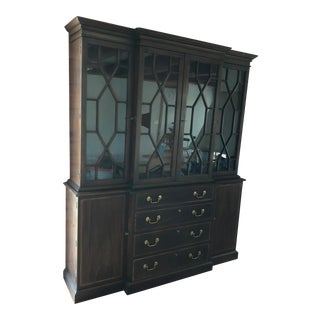 Henkel-Harris China Cabinet. Lighted With Lined Silverware Drawer. All Drawers and Doors Have Key Locks.