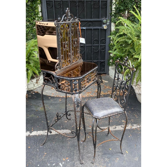 Antique Art Deco Spanish Wrought Iron Champagne Mirrored Vanity & Chair - a Pair For Sale In Los Angeles - Image 6 of 11