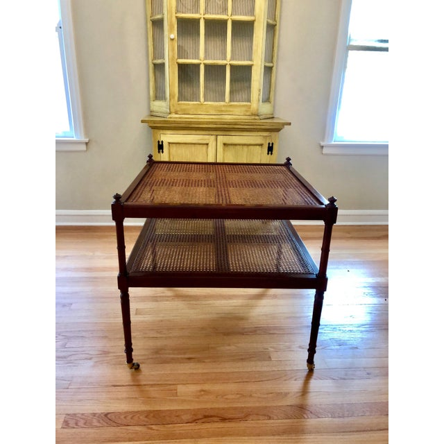Caning Baker Furniture Cane British Colonial Cocktail Table on Casters For Sale - Image 7 of 11