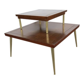Lane Mid-Century Modern Mahogany & Brass Stacking Occasional Tables - Set of 2 For Sale
