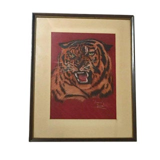 Mid Century Modern Siberian Tiger Pastel Painting Portrait by Clyde Beatty For Sale