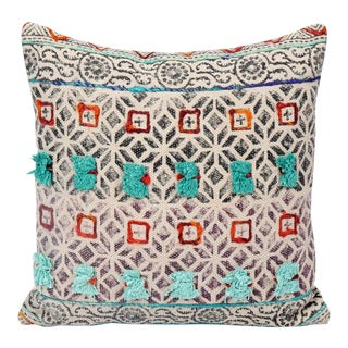 Tribal Black and White Embroidered and Pom Geometric Cotton Pillow For Sale