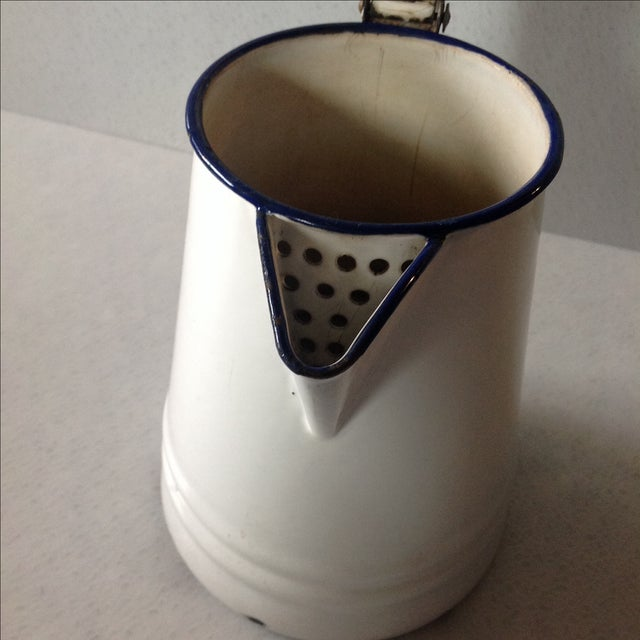 French Country White Enamel Pitcher - Image 8 of 11