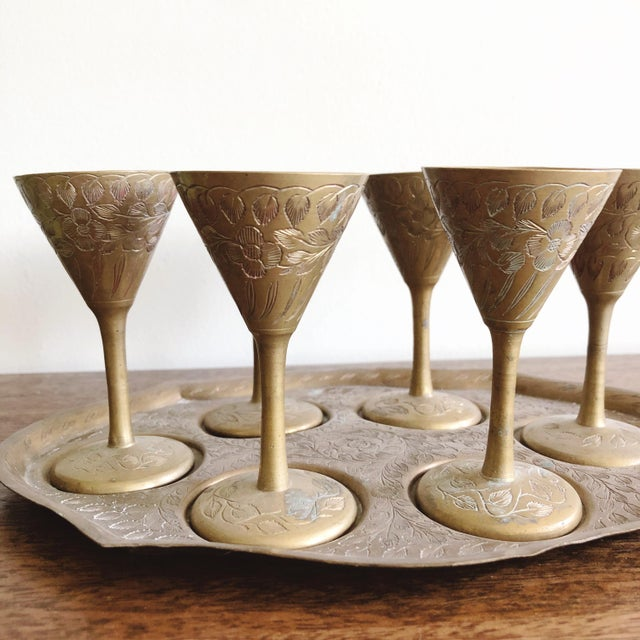 1960s Vintage Indian Brass Cordial Set of 6 Mini Goblets and Tray For Sale - Image 5 of 6
