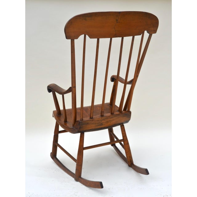 Wood Antique Primitive Boston Rocking Chair C.1840s For Sale - Image 7 of 11