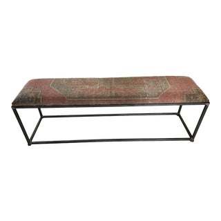 Custom Made Iron Ottoman With Antique Kilim Rug Top For Sale