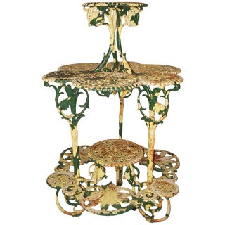 """Antique Plant Stand Cast Iron """"Coalbrookdale"""" For Sale"""