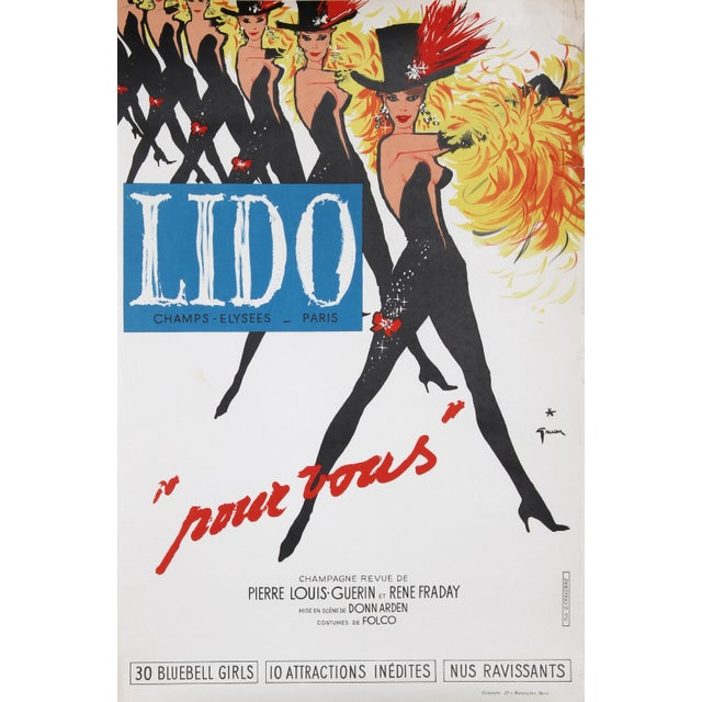 """Italian """"Lido, Pour Vous"""" Lithograph Poster by Rene Gruau For Sale - Image 3 of 3"""