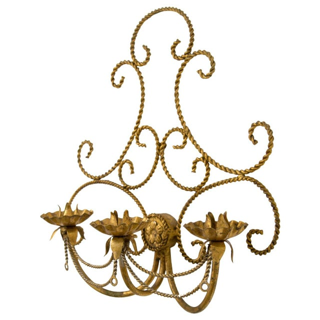 Mid 20th Century Italian Gilded Tole 3-Candle Wall Sconce For Sale - Image 5 of 6
