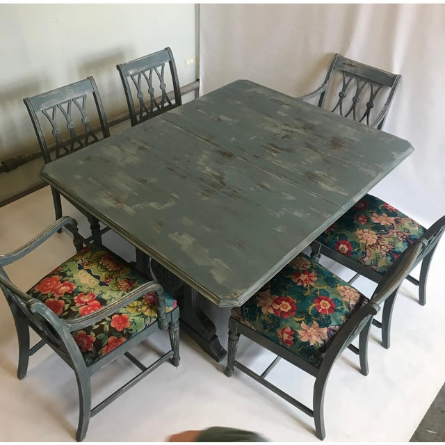 Vintage Trestle Dining Table With Six Chairs and Upholstered Settee For Sale - Image 10 of 12