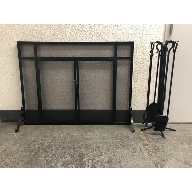 Plow & Hearth Fireplace Screen & Tools For Sale - Image 9 of 9