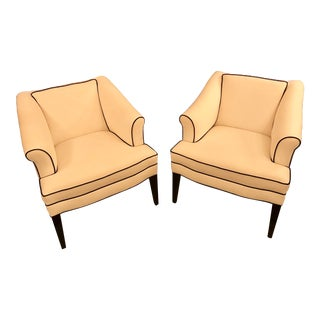 Custom-Made Slanted Armed Tuxedo Styled Chairs, a Pair For Sale