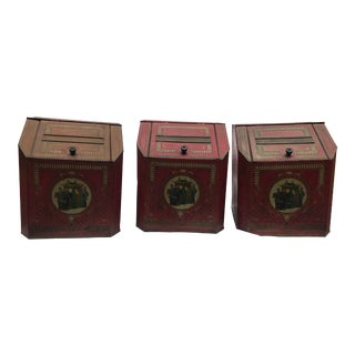 19th Century Chinoiserie Tole Storage Bins - Set of 3 For Sale
