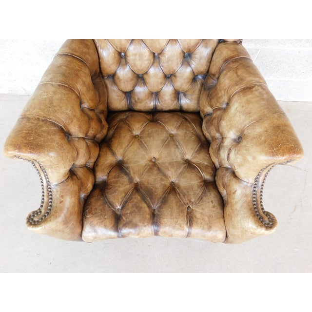 Antique English Tufted Leather Georgian Style Wingback Chair For Sale - Image 11 of 12