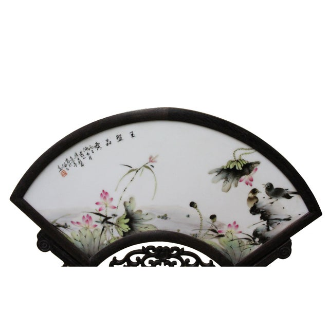 Asian Chinese Wood Frame Porcelain Plaque Table Top Screen Display For Sale - Image 3 of 8