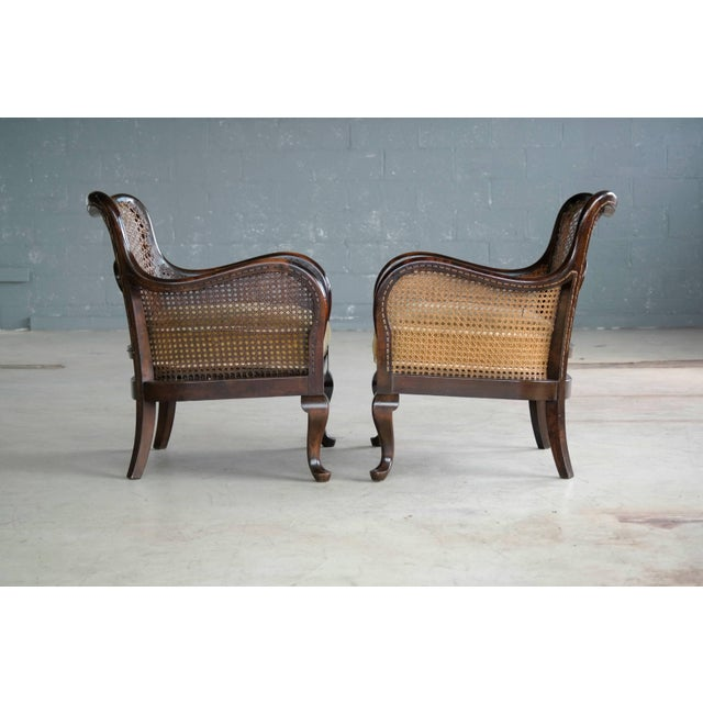 Pair of Danish Early 20th Century Caned Library Bergère Chair in Stained Birch - Image 8 of 10