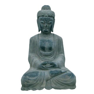 Hand Carved Stone Buddha In Lotus Sitting Position Meditate With Eye Close For Sale