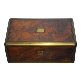 British Rosewood Officer's Campaign Travel Desk Writing Table