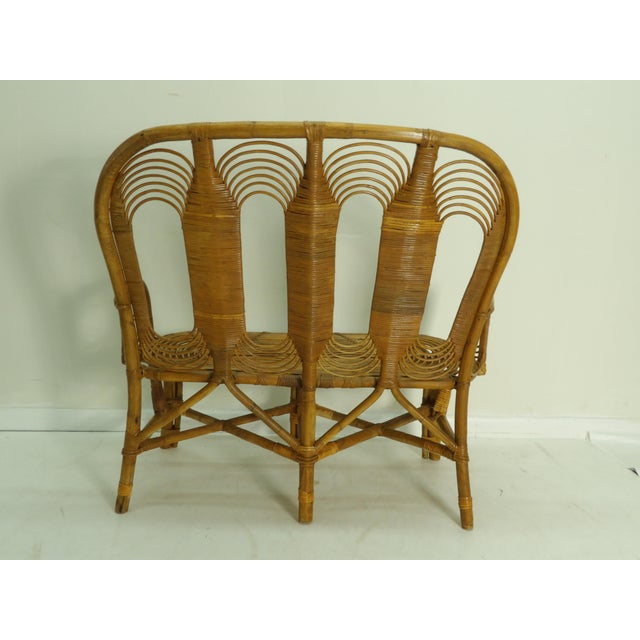 Vintage Boho Chic Rattan Settee For Sale In West Palm - Image 6 of 8