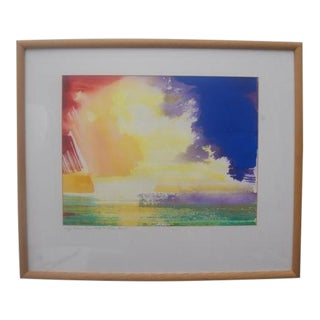 "Vintage Watercolor Painting ""Higgs Beach Pier, White St, Costa Marie"" by Frank Monaco Key West Sunsets Series For Sale"