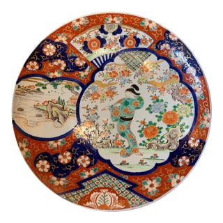 Antique Japanese Imari Porcelain Charger For Sale