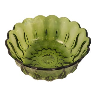 Anchor Hocking Glass Fairfield Avocado Salad Bowl For Sale