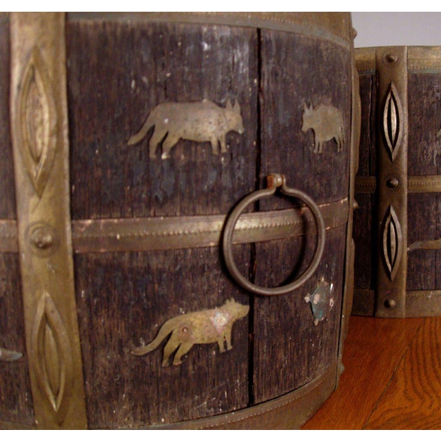 1930s Antique Oak & Brass Jardinieres - a Pair For Sale - Image 4 of 6