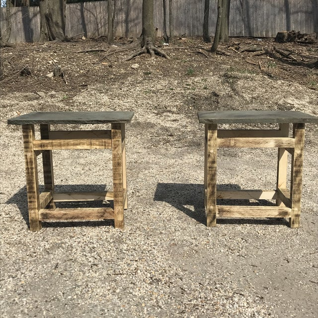 Rustic Rustic Handcrafted Oak & Shale Side Tables - a Pair For Sale - Image 3 of 9