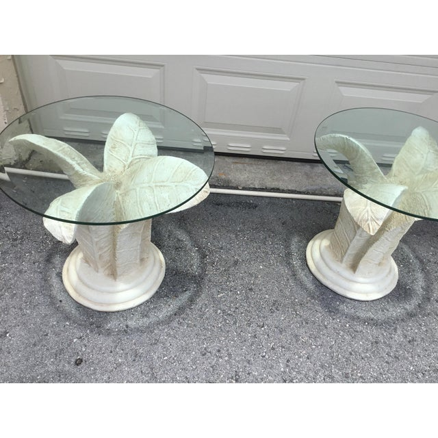 vintage side tables with glass top with flowers style and plastic resin bass wood