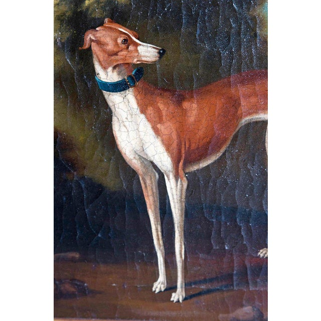 19th Century English Oil on Canvas of Whippet in a Landscape For Sale In Dallas - Image 6 of 13