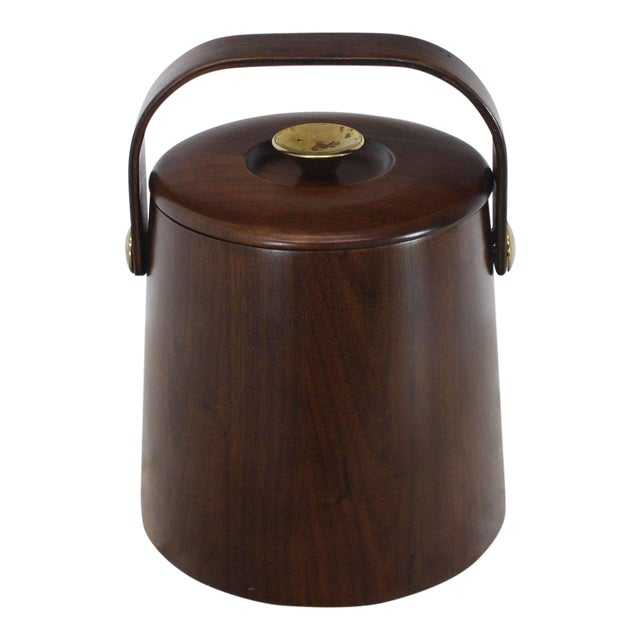 American Walnut Danish Modern Style Ice Bucket with Lid For Sale