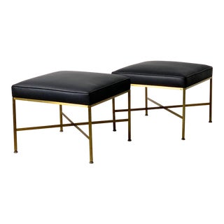 Pair Paul McCobb Directional Brass X Base Stools For Sale