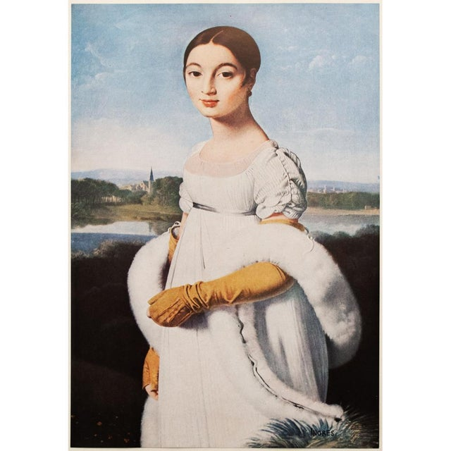A stunning rare vintage photogravure of portrait of Mademoiselle Riviere by Jean-Auguste-Dominique Ingres. Signed in the...