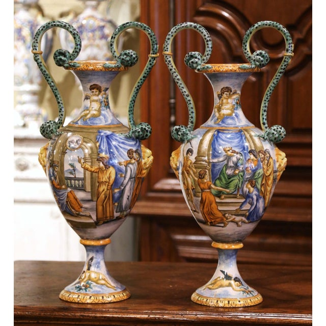 Late 19th Century 19th Century Italian Classical Painted Majolica Vases With Roman Scenes - a Pair For Sale - Image 5 of 13