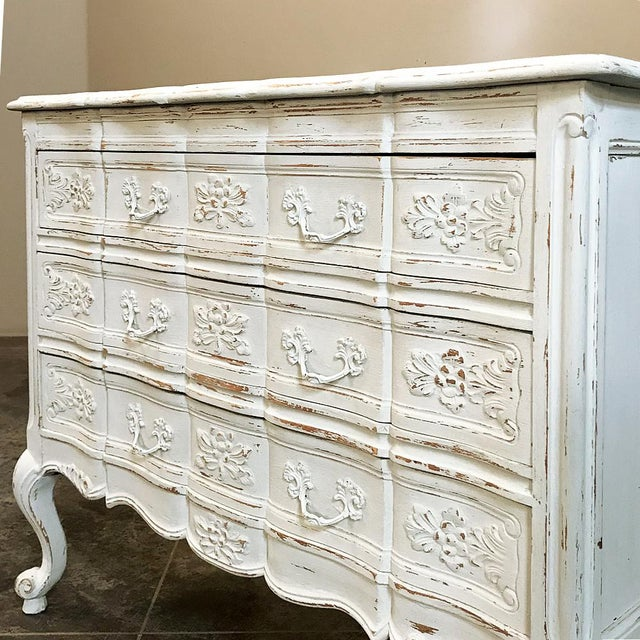 White Antique Country French Provincial Painted Commode For Sale - Image 8 of 12