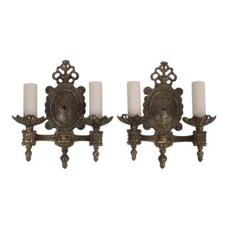 Pair of Tudor Style Double Arm Bronze Wall Sconces For Sale