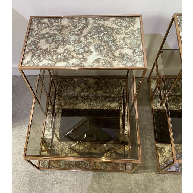 Milo Baughman Style Italian Side or Night Tables - a Pair For Sale - Image 11 of 13