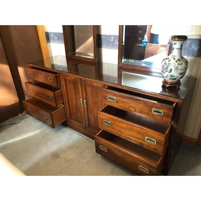 Campaign Vintage Ethan Allen Canova Cherry Campaign Style Dresser With Mirrors For Sale - Image 3 of 8