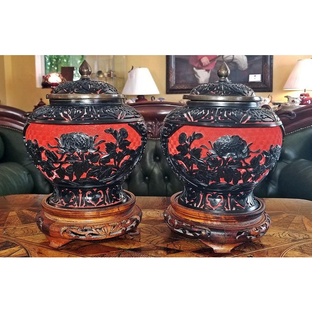 20th Century Chinese Cinnabar and Enamel Lidded Urns on Stand - a Pair For Sale In Dallas - Image 6 of 11